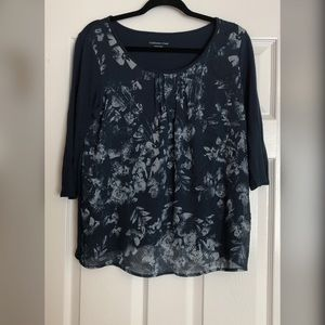Coldwater Creek Navy Blue Beaded Top